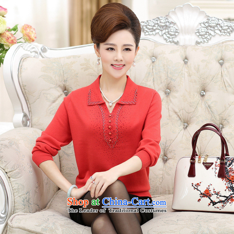 The Secretary for Health concerns of older women shop _ replace spring and autumn boxed long-sleeved T-shirt, forming the reverse collar middle-aged women Knitted Shirt Mother Women's clothes light sweater orange?3XLXL_ recommendations 145-160 catty_