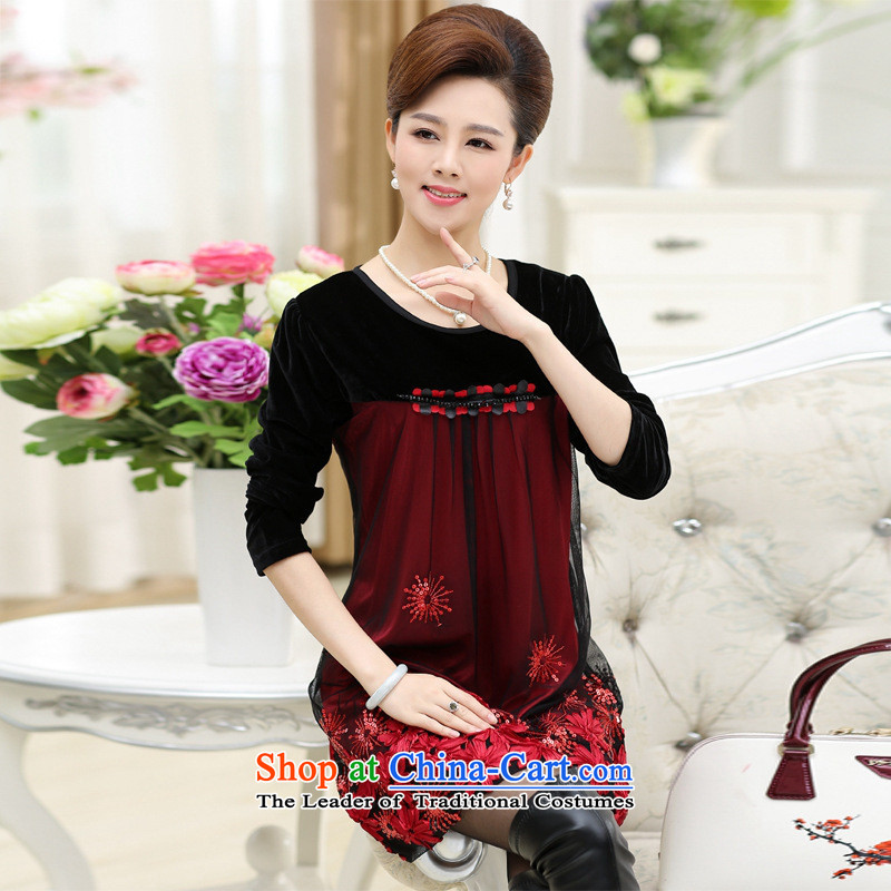 The Secretary for Health related shop _ Mother replacing dresses聽in 2015 new elderly women during the spring and autumn replacing Kim large long-sleeved scouring pads, forming the skirt purple聽4XL
