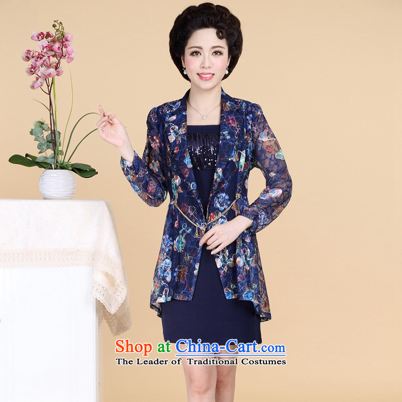The Secretary for Health concerns of older women shop _ replacing autumn replacing lace really two kits mother long-sleeved embroidered chiffon large relaxd dress kit on cyan聽XL_ recommendations 80-105 catties_