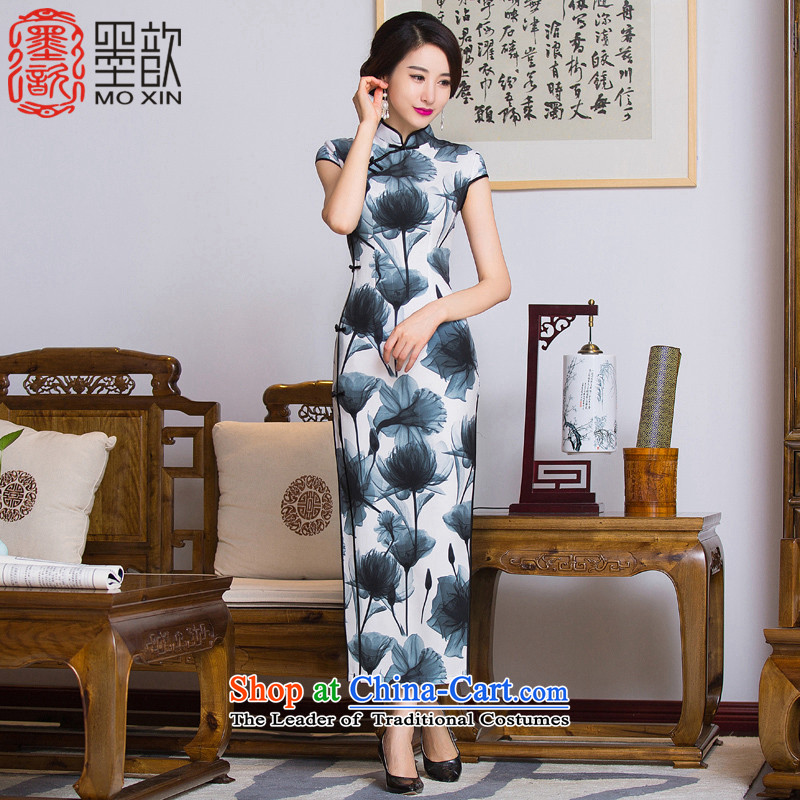 Ink Paintings in the book Xuan 2015 歆 long cheongsam with retro style Ms. Qiu cheongsam dress qipao gown improved long skirt QD290 picture color M