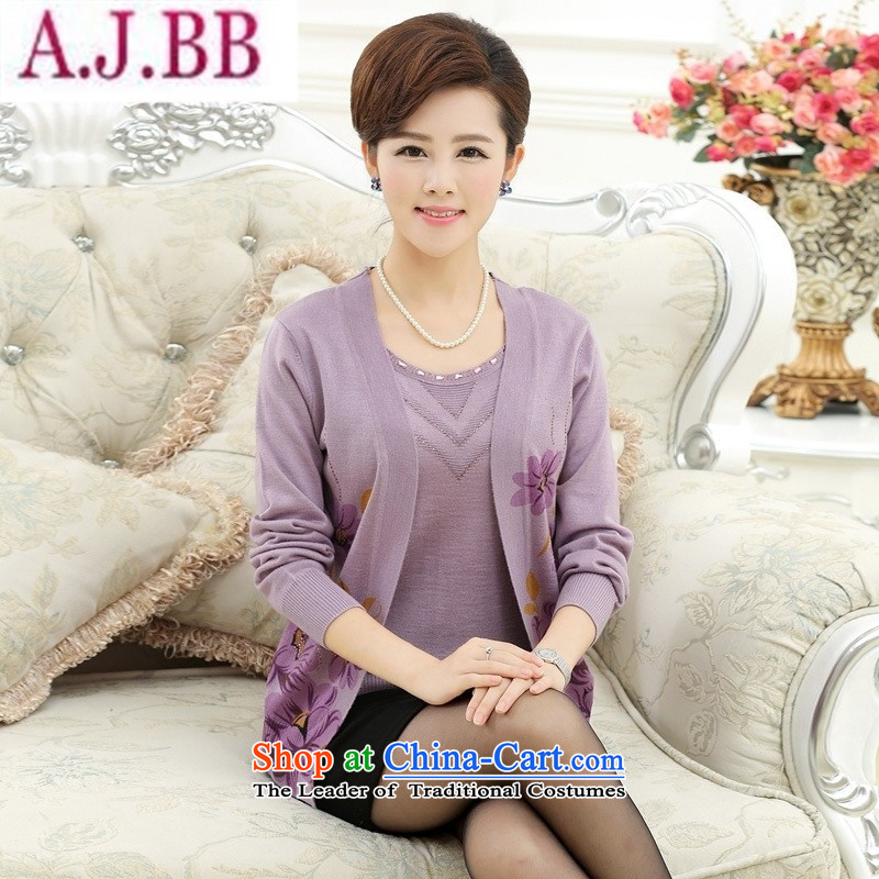 And involved the new mother _2015 Shop Boxed in autumn blouses and leave older two long-sleeved T-shirt loose Knitted Shirt Jacket?2XL light purple recommendations 140-160 characters catties_
