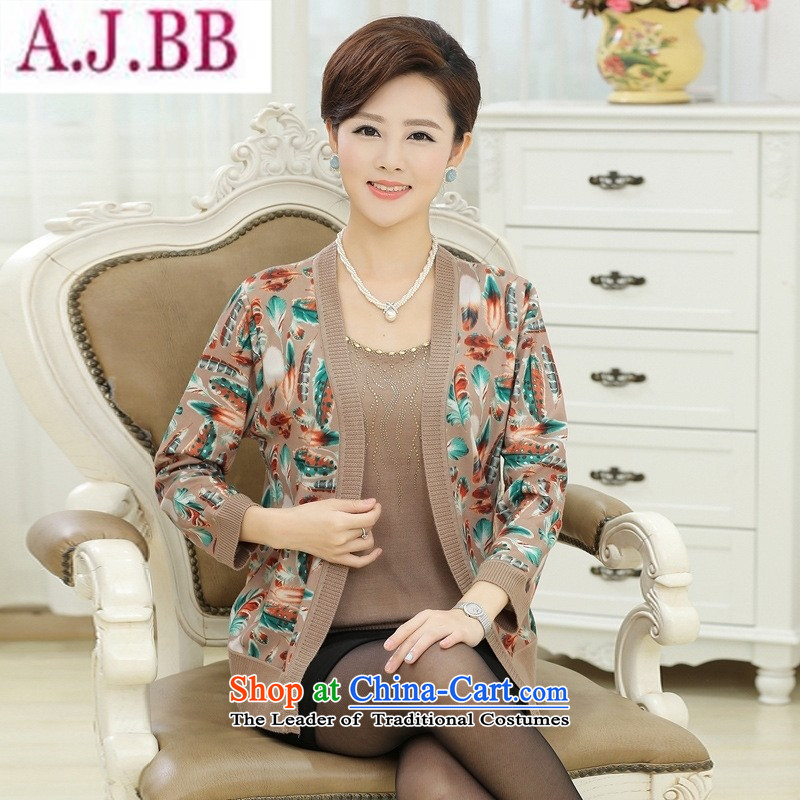 The Secretary for Health concerns of older women shop _ replacing autumn boxed long-sleeved Knitted Shirt loose large older people with middle-aged mother leave two woolen sweater and color feather聽XL