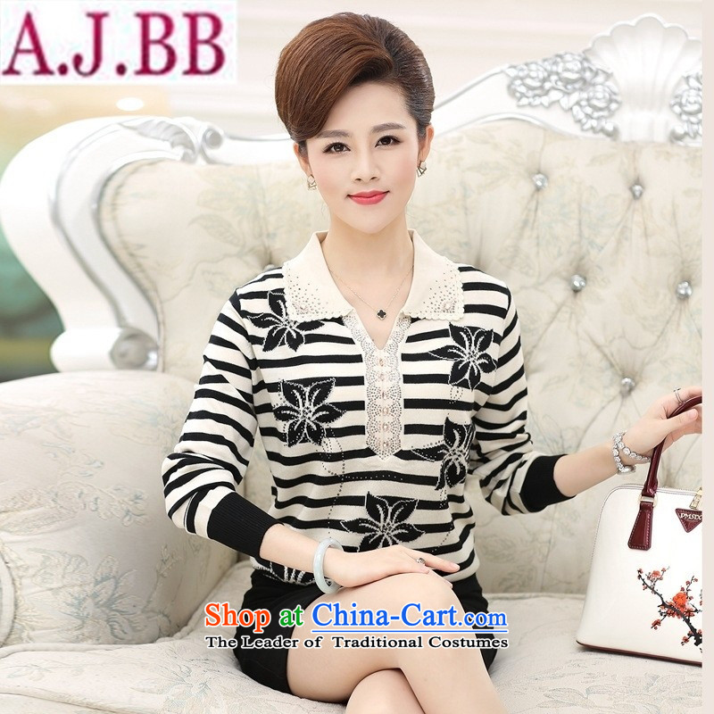 * the new shop and involving older women during the spring and autumn) Knitted Shirt 40-50-year-old mother with large long-sleeved T-shirt middle-aged women purple?XL( recommendations 120-140 catties)