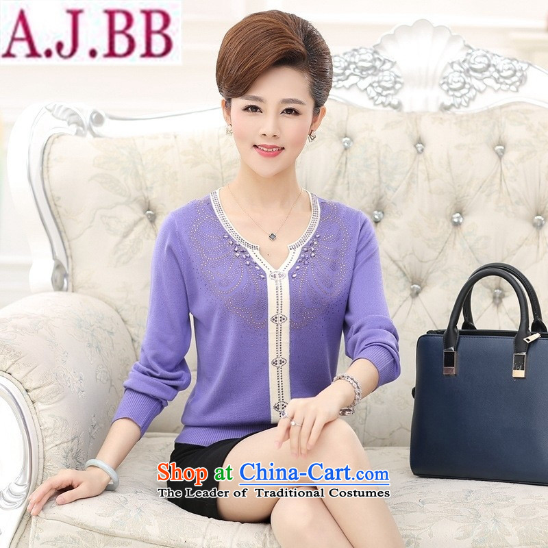 And involved shop New_ Autumn _2015 long-sleeved sweater in forming the knitting of older women with large relaxd mother purple�L_ recommendations 140-160 characters catties_