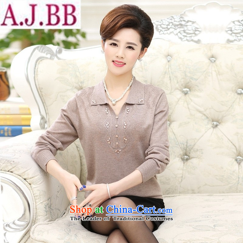 The Secretary for Health concerns of older women shop _ replacing autumn long-sleeved T-shirt 40-50-year-old mother with spring and autumn load thick large roll collar woolen knitted shirts bourdeaux�L_125_