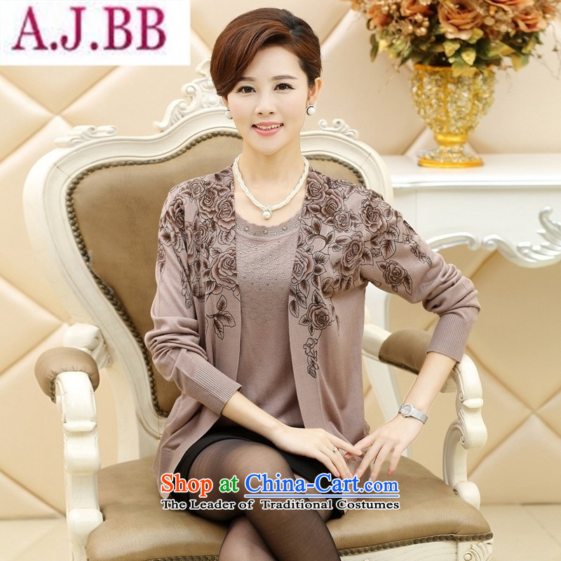 And related shop _2015 Spring New elderly mother with long-sleeved large middle-aged women's two kits knitted shirts wholesale autumn blue-green燲L_1115_