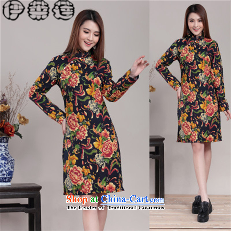 Hirlet Ephraim Fall 2015 new temperament Ms. retro improved ethnic Chinese cheongsam dress daily long-sleeved palace with cotton linen collar of the forklift truck cheongsam dress Black�XL