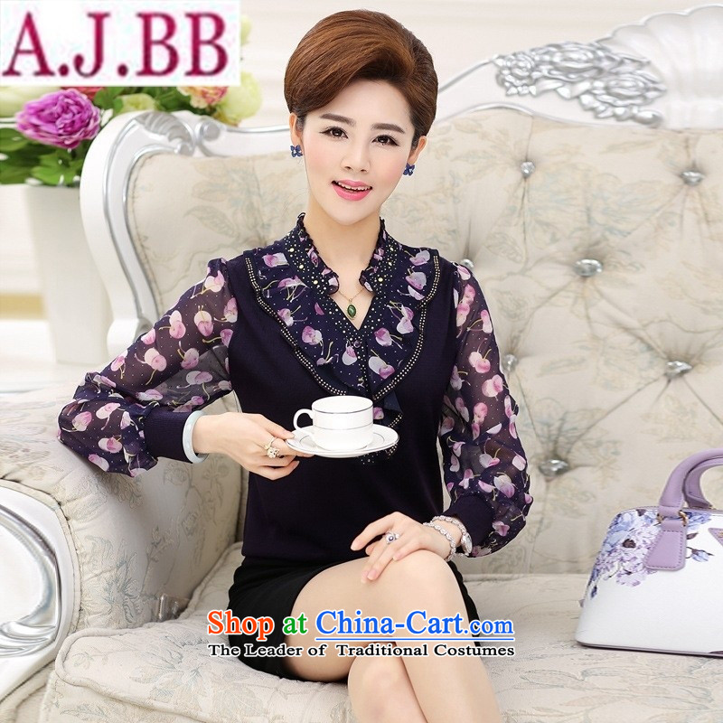 The Secretary for Health concerns of older women shop * replacing autumn knitwear large middle-aged 40-50-year-old mother with long-sleeved blouses and T-shirts chiffon�3XL(125) Purple