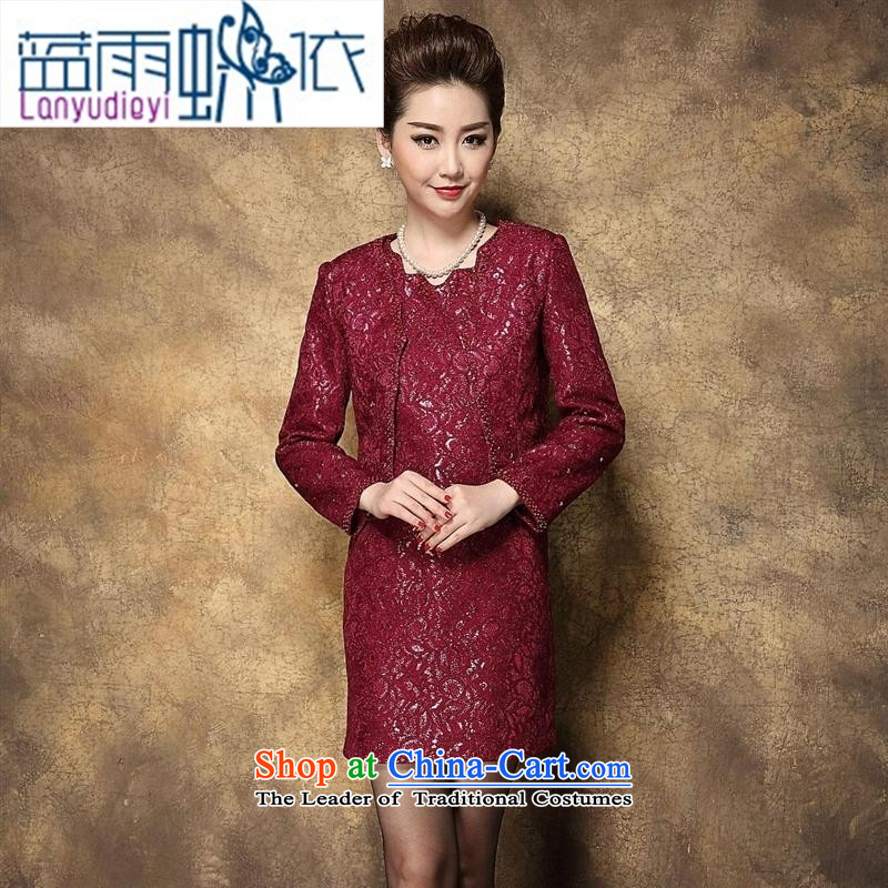 Ya-ting shop 2015 Autumn New) Older dresses temperament Sau San larger wedding wedding MOM pack kit in the red�180 100A