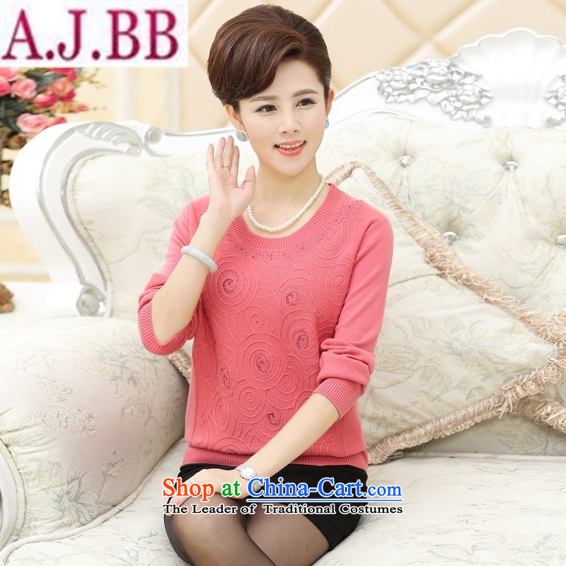 _ the new shop involved and of the elderly in the fleece wear shirts mother load spring and autumn middle-aged women Knitted Shirt large long-sleeved light sweater�L_120_ blue-green