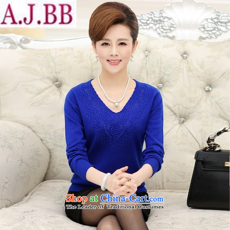 The Secretary for Health Concerns in older mother _ Shop Boxed autumn knitted shirts middle-aged female long-sleeved shirt with round-neck collar larger T-shirt rubber coated red燣 recommendations 80-100 catties_