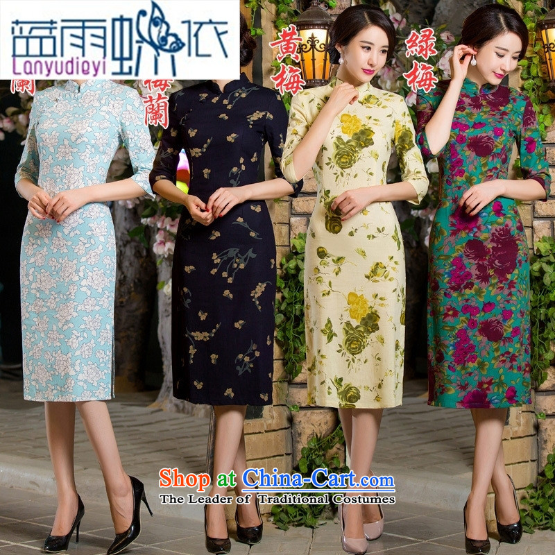 Ya-ting shop 2015 Autumn replacing retro in thin cuff Sau San video larger improved linen long skirt qipao Samui red燣