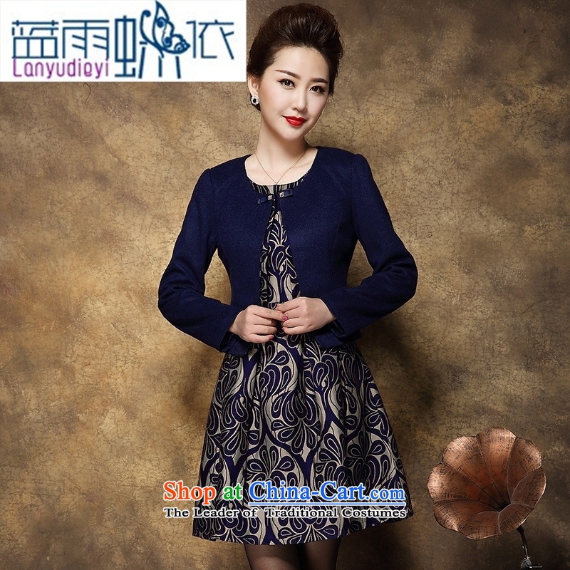 Ya-ting shop 2015 large middle-aged female Mother New) Autumn two kits wool dresses? Tibetan blue 2XL