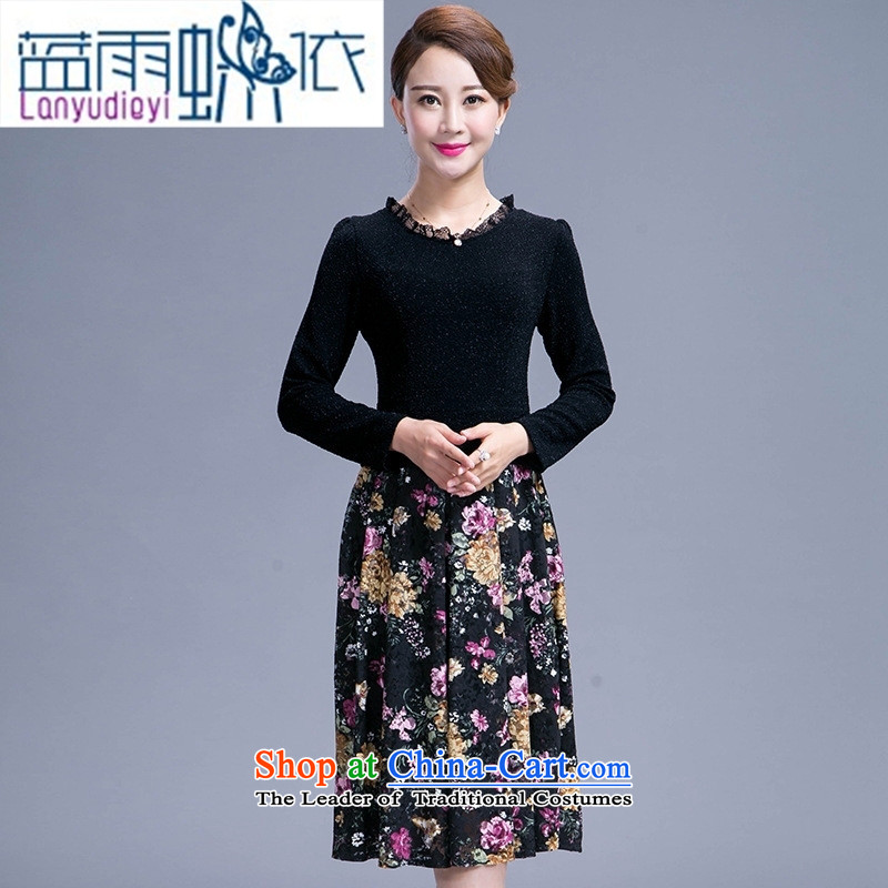 Ya-ting shop 2015 autumn large load Sau San Korean middle-aged female mother who decorated temperament in the skirt long black燲L