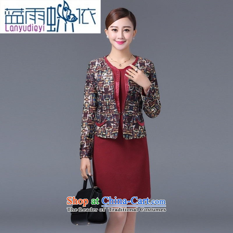 Shop 2015, Ya-ting older temperament Sau San lace jacquard larger women's mother with two-piece dresses flower Yi Red Dress燤
