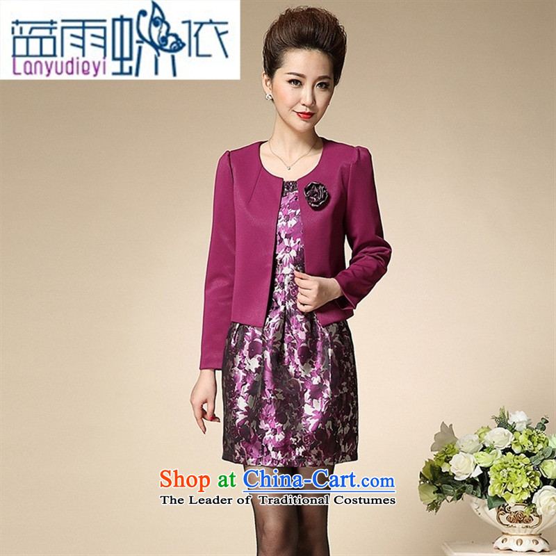 Ya-ting 2015 Mother Women's clothes shops in elegant and stylish look older dresses two kits dress purple�0 O. 84A