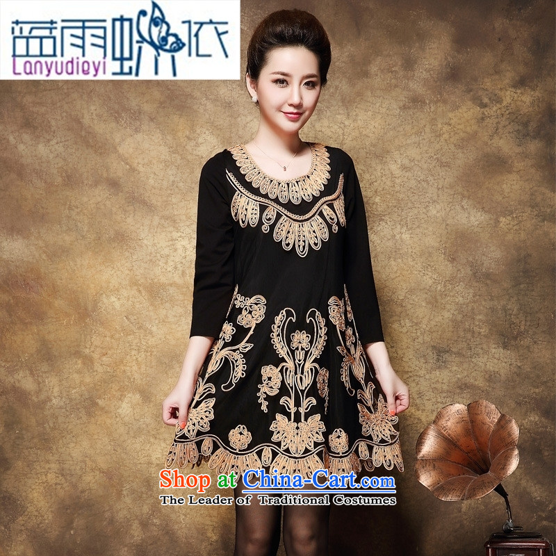 Shop 2015 Ya-ting, the code in the autumn of Cuba baroque pattern in the skirt of older larger mother replacing dresses black large XXXL code