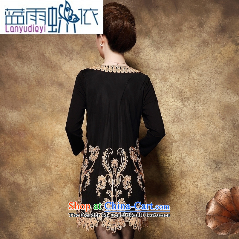 Shop 2015 Ya-ting, the code in the autumn of Cuba baroque pattern in the skirt of older larger mother replacing dresses large black rain butterfly according to blue XXXL, shopping on the Internet has been pressed.