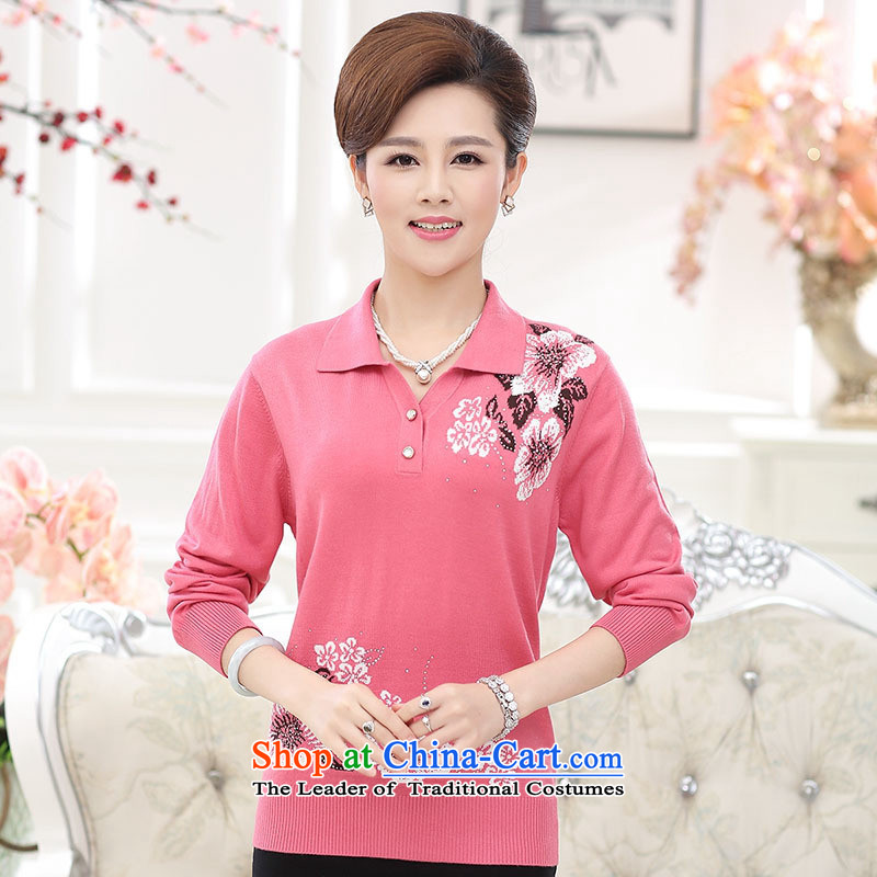 And involved shop New_ Autumn _2015 women forming the elderly in the Netherlands mother woolen pullover liberal party long-sleeved T-shirt, collar purple燲L
