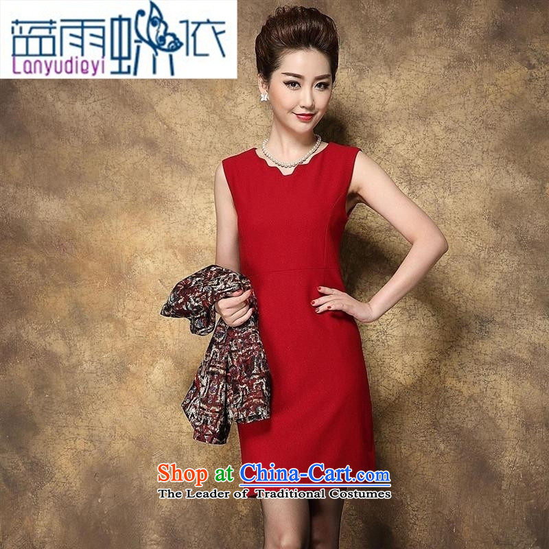 Ya-ting shop in autumn and winter 2015 older stylish wedding wedding MOM pack flower Yi Red Dress�5 96A