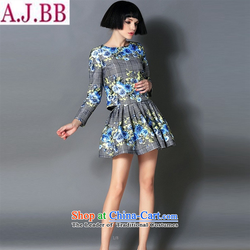 And involved shop New_ Autumn _2015 latticed blue rose stamp long-sleeved shirt + trend bon bon two female kit skirt blue checked XL
