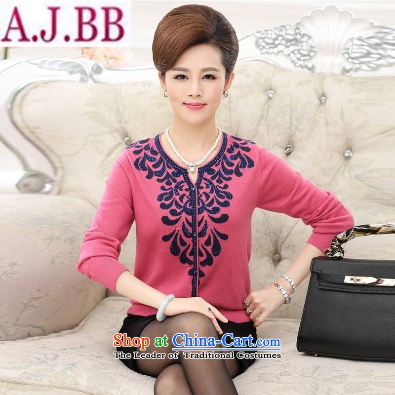 And involved shop New_ Autumn _2015 MOM pack long-sleeved T ? V-neck shirt, older women had darned knitting sweater thin coat pink forming the爎ecommendations 140-160 characters catties_ 3XL_