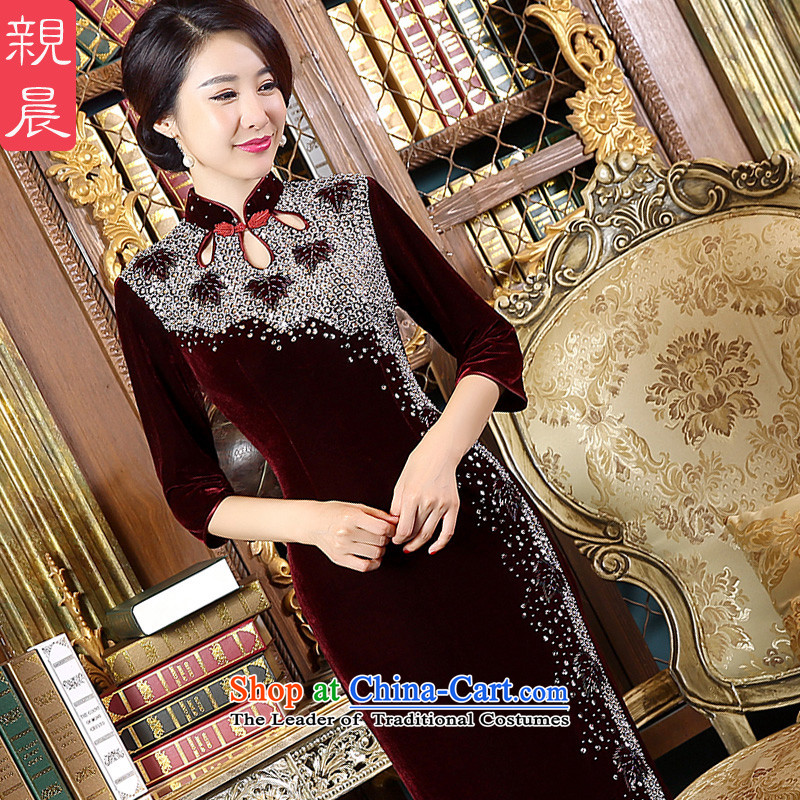 At 2015 new parent for autumn and winter by Kim scouring pads for larger mother qipao skirt wedding dresses, Ms. boxed long dresses in short-sleeved_燲L