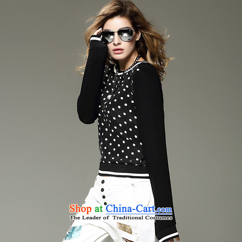 Secretary for Europe and the Autumn _2015 shops involved high female silk stamp stitching female long-sleeved T-shirt with round collar set forming the first picture color T-shirt燬