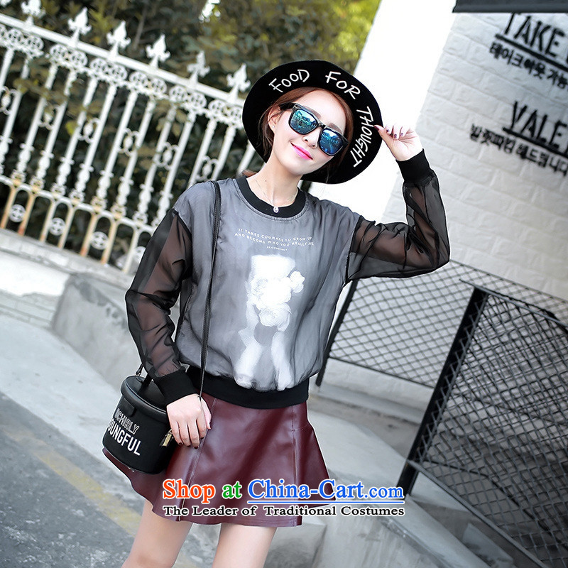 And involved shop New_ Autumn _2015 Korean female round-neck collar stitching Mesh long-sleeved T-shirt stamp black燣