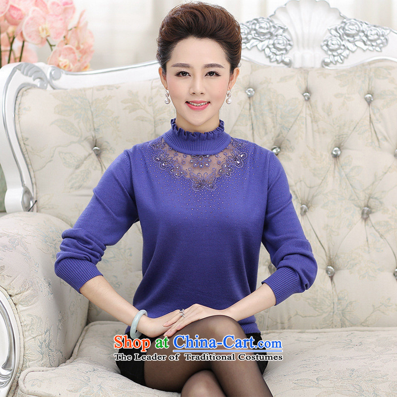 The Secretary for Health concerns of older women _2015 Shop Boxed autumn large Knitted Shirt with mother boxed long-sleeved sweater, forming the basis for middle-aged female sweater and color shirt�L