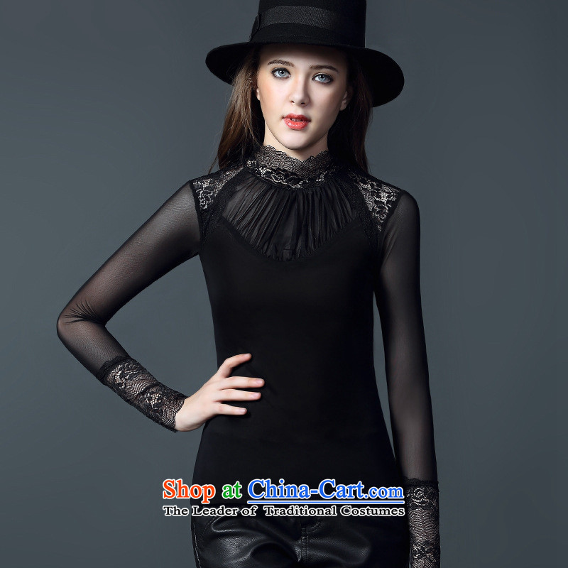 And related shop *2015 autumn and winter new products female stylish Sau San gauze stitching lace Mock-Neck Shirt, forming the long-sleeved thin Graphics Black?M