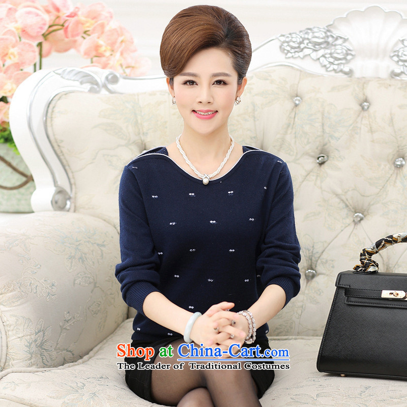 The Secretary for Health related shop women aged * install new spring and autumn long-sleeved shirt, older style knitting boxed loose sweater, forming the moms clothes dark red?XL