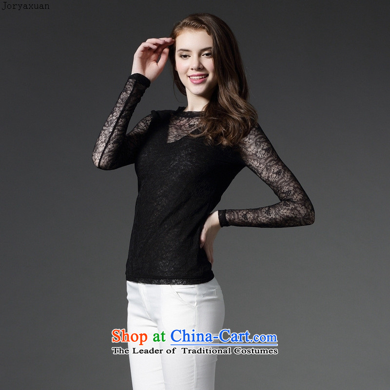 Web soft clothes with new autumn 2015 Sau San sexy fluoroscopy lace engraving T-shirt with round collar double coated shirt female White燲XL