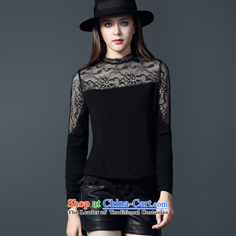 The Secretary for Health related shop * High-end women 2015 autumn and winter stylish new lace l leisure wear shirts black�L
