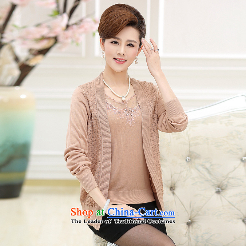 _ The autumn and involve Shop Boxed new moms with long-sleeved loose Knitted Shirt of聽middle aged people aged 40-50 women cardigan really two kits purple聽XL