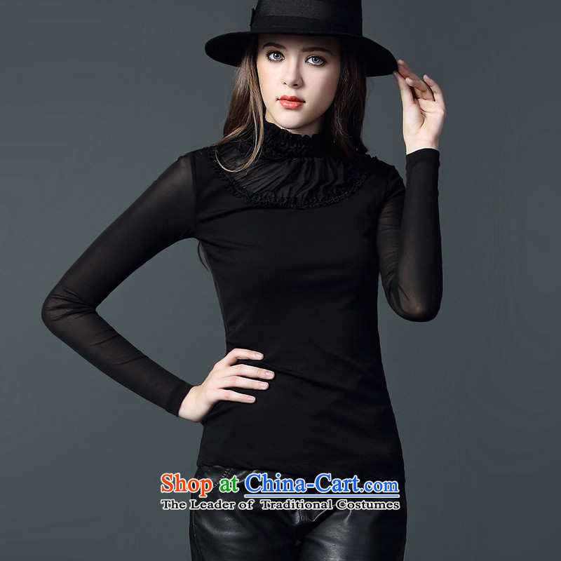 The Secretary for Health related shop women_ 2015 autumn and winter new European and American ballet mesh yarn stitching long-sleeved shirt, forming the graphics thin explosions black聽S