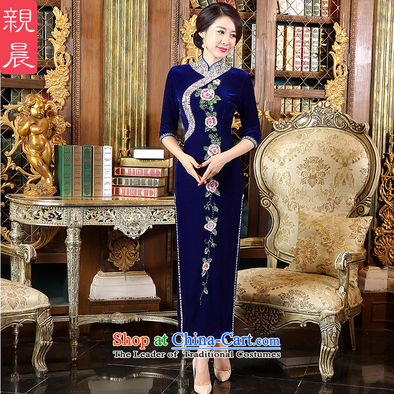 Wedding dresses pro-morning large load mother Kim scouring pads new 2015 autumn day-long stylish cheongsam dress in long-sleeved�L