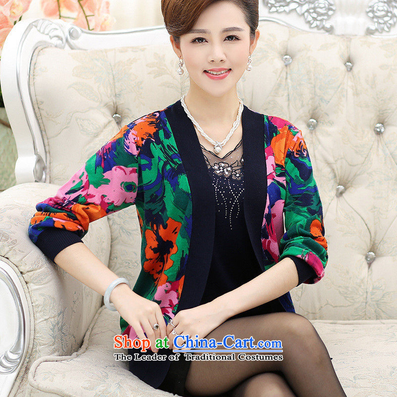 The Secretary for Health concerns of older women shop _ replacing autumn replacing Knitted Shirt long-sleeved jacket cardigan middle-aged moms with really two kits long-sleeved top female blue�L