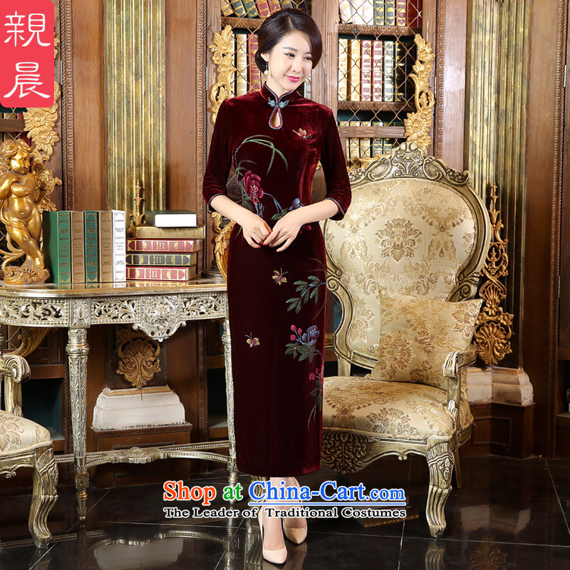 Pro-morning Kim scouring pads wedding dress code load mother autumn 2015 new improved cheongsam dress wedding dresses in the long sleeve length,?4XL