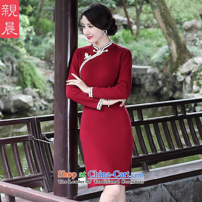 2015 Autumn and winter new daily retro cheongsam dress woolen knitted improved long-sleeved shirt short stylish, dresses female wine red燤