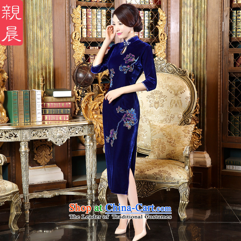 The pro-am 2015 autumn large new moms with Kim scouring pads wedding-dress daily improved long cheongsam dress dresses in long-sleeved?4XL