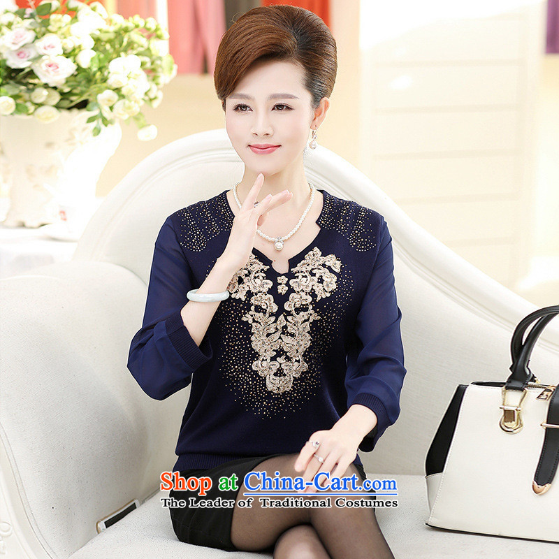 The Secretary for Health concerns of older women shop _ replacing knitted shirts autumn long-sleeved T-shirt with a stylish new moms middle-aged 40-50 years old sweater green燲L