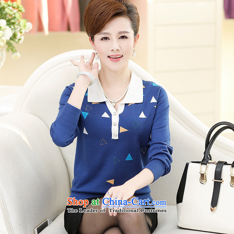 * the new shop involved and of the Netherlands in mother knitted blouses and load the autumn older fleece large relaxd stylish long-sleeved flip Neck Sweater blue XL