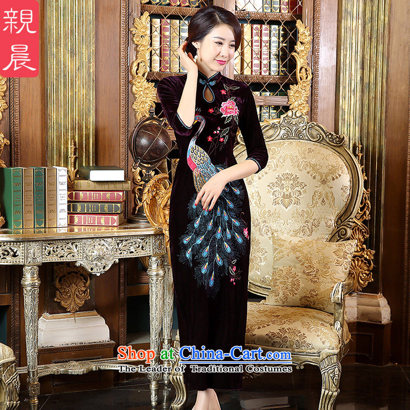 Pro-morning wedding dress code upscale Kim scouring pads installed 2015 Choo Mother of daily fashion, long skirt in sleeve length QIPAO)?XL