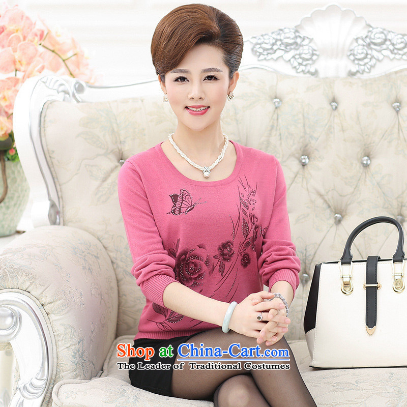 The Secretary for Health concerns of older women shop _ Replacing Knitted Shirt jacket autumn middle-aged 40-50-year-old mother with T-shirt long-sleeved sweater older persons leather pink燲L_ recommendations 120-135 catties_
