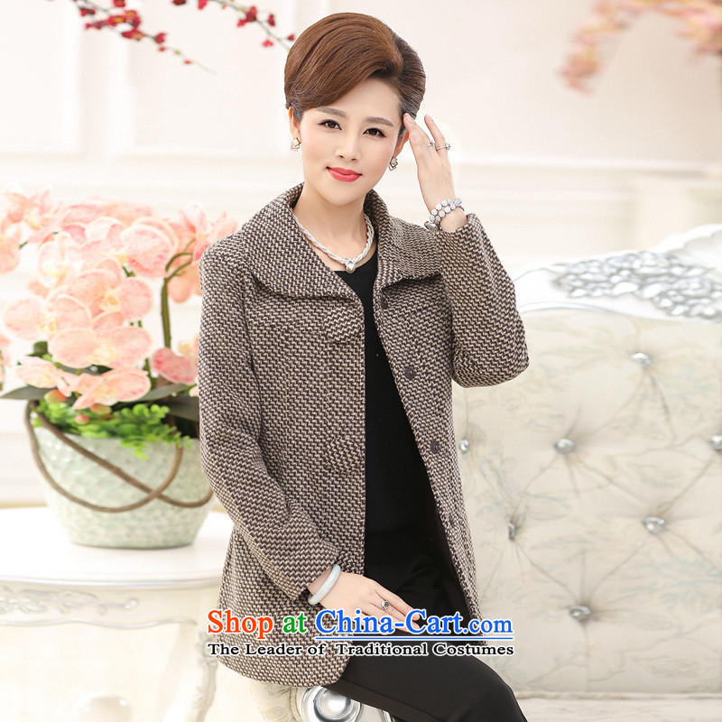 The Secretary for Health concerns of older women shop _ Replace Replace gross? coats of autumn in the mother long piece collars in long-sleeved thick large a khaki�L