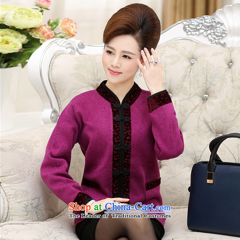 The Secretary for Health related shop _ middle-aged female boxed long-sleeved sweater mother boxed autumn jackets 50-60-year-old elderly in the autumn and winter coats female heavy jackets large red?XL