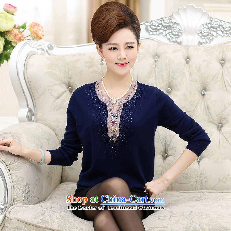 The Secretary for Health concerns of older women shop _ knitted shirts large load on the fall of mother long-sleeved shirt 40-50 years old, forming the wool sweater on middle-aged cyan?3XL_ recommendations 145-160 catties_