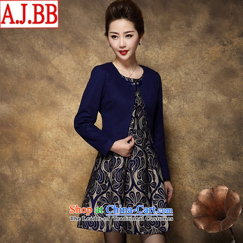 The Black Butterfly 2015 Autumn new two-piece high-end middle-aged female MOM pack at the beginning of autumn _ larger wool dresses? female blue燲L