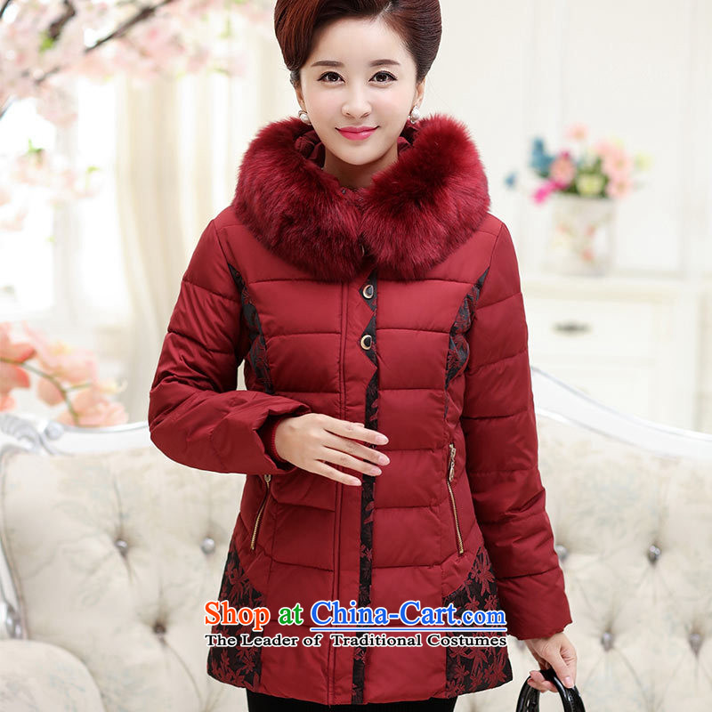 The Secretary for Health related shop _ of older persons in the women's long-sleeved sweater MOM pack new products ?t��a middle-aged 40-50 winter clothing larger cotton shirt dark red?3XL services